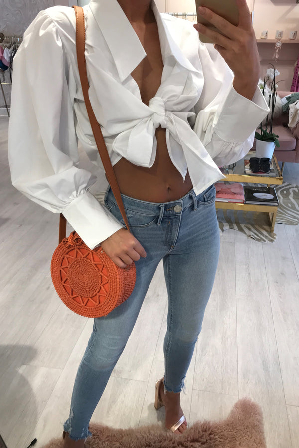 BELLA CROPPED TIE FRONT BLOUSE WHITE