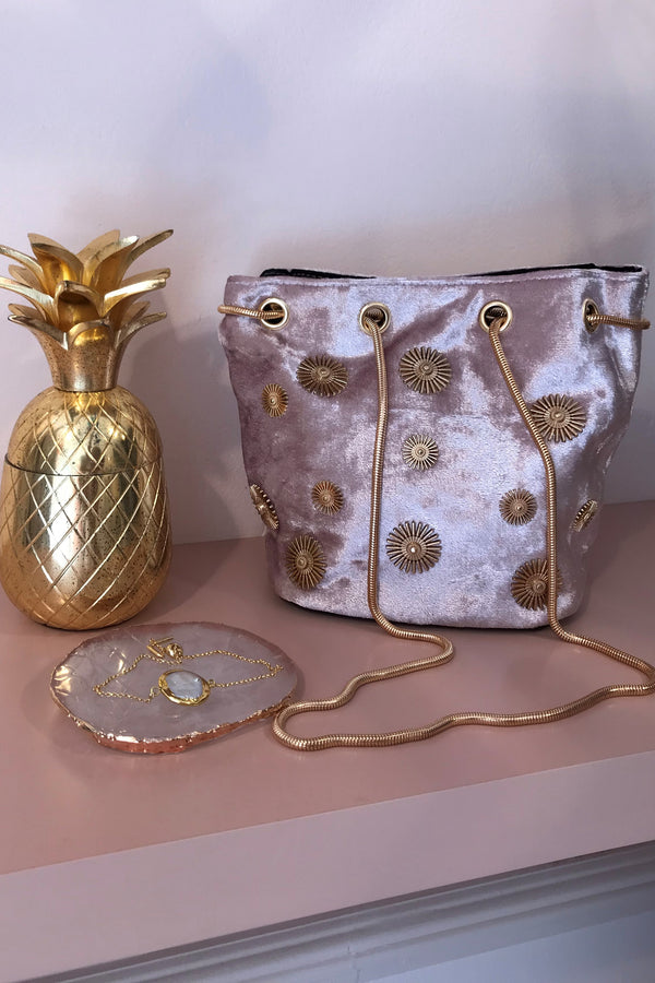 LIGHT PINK VELVET/GOLD BUCKET BAG