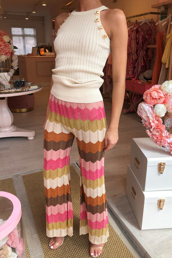 CHARLI CHEVRON GOLD/PINK/BRONZE TROUSER
