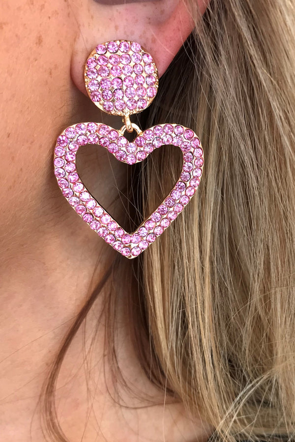CRYSTAL HEART SMALL EARRINGS PINK