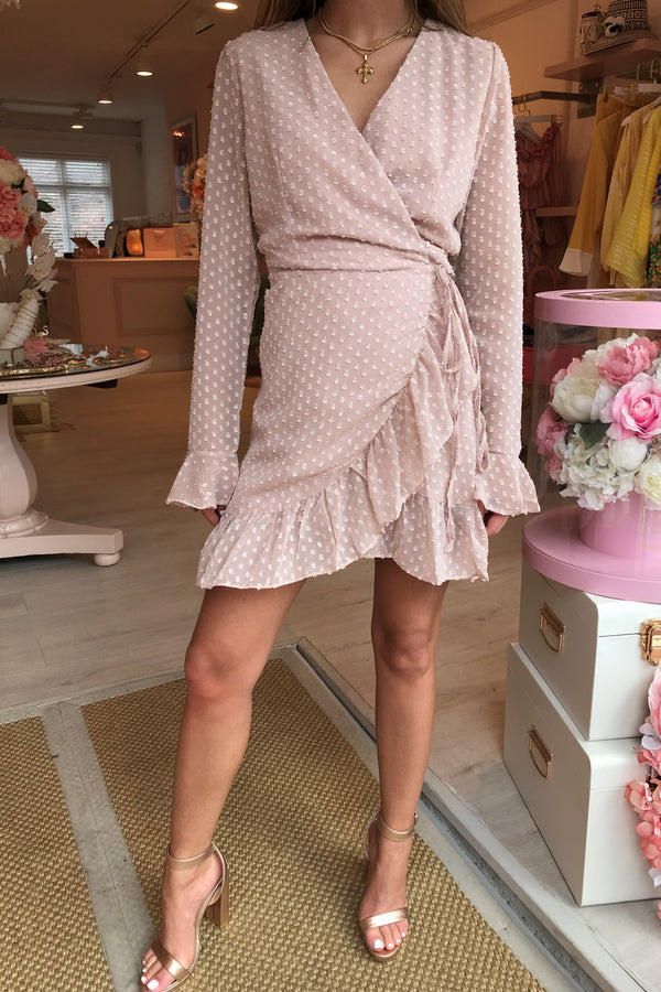 GRACE SPOT PALE PINK WRAP DRESS