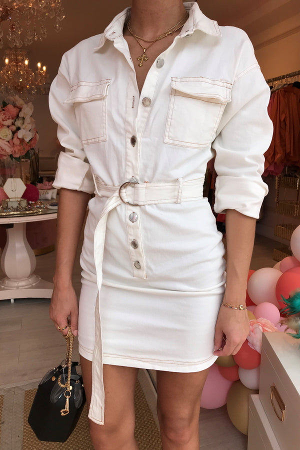 LANI WHITE DENIM MINI DRESS