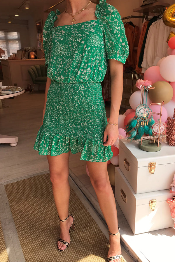 GREEN DITSY FLORAL DRESS