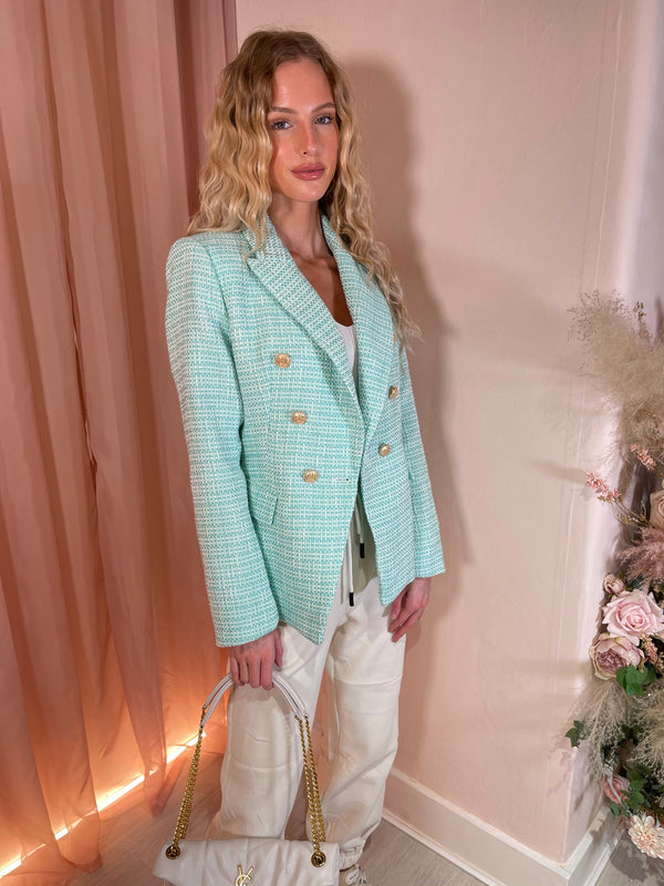 MINT TWEED GOLD BUTTON BLAZER