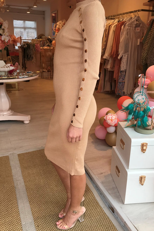 ROSIE BEIGE RIBBED KNITTED MIDI DRESS