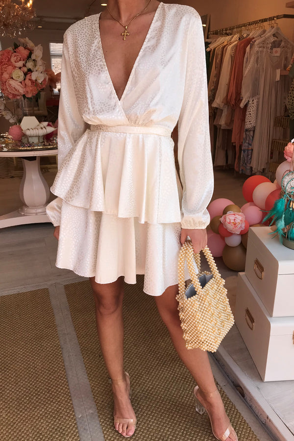REENA CREAM WRAP DRESS