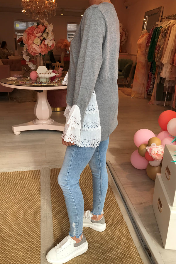 GIGI GREY KNITTED JUMPER WITH WHITE SHIRT DETAIL