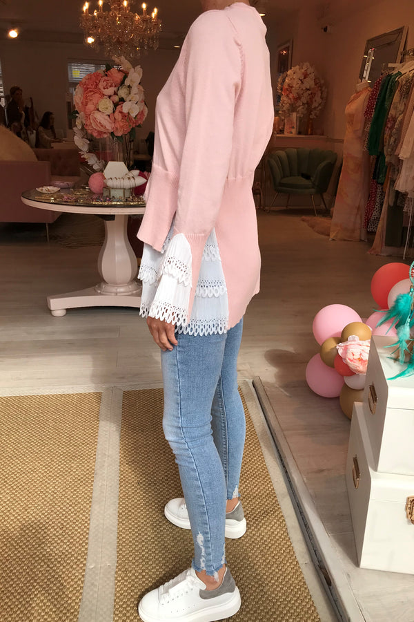 GIGI PINK KNITTED JUMPER WITH WHITE SHIRT DETAIL
