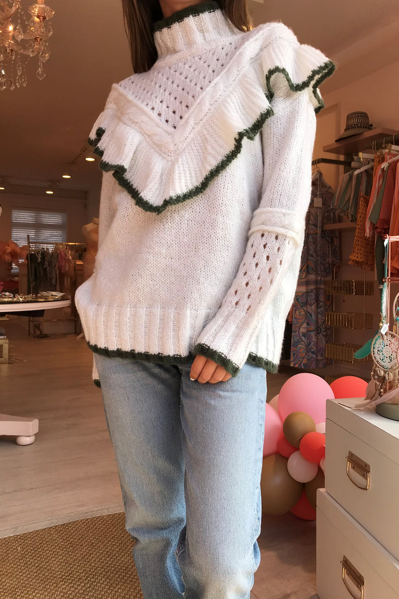 BRONTE CREAM/GREEN KNIT WITH FRILL DETAIL