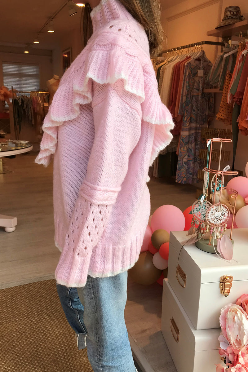 BRONTE PINK/CREAM KNIT WITH FRILL DETAIL