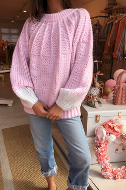 CLIO KNITTED JUMPER PINK WITH TIE BACK