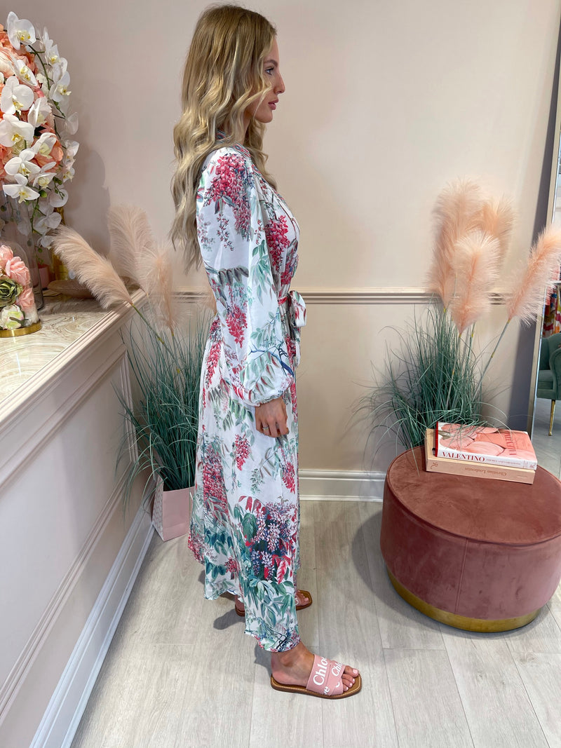 ANASTASIA GREEN/PINK  FLORAL PRINTED MAXI DRESS