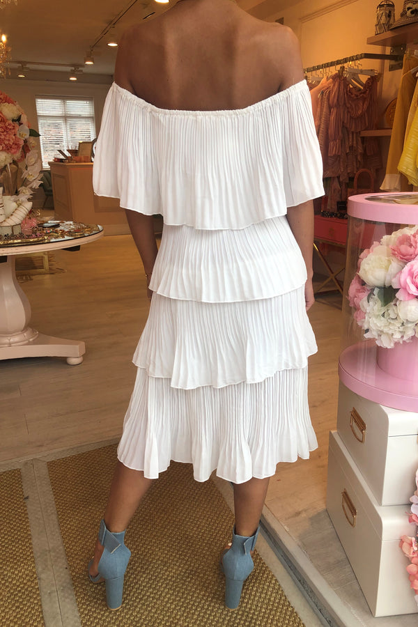 TIA WHITE PLEATED TIERED MIDI DRESS
