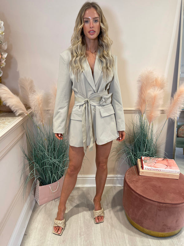POLLY BEIGE BELT BLAZER DRESS