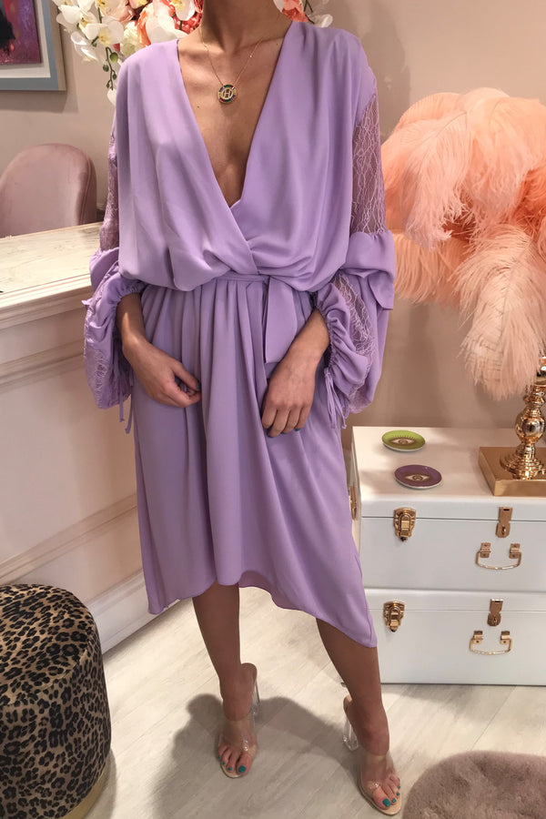 PALOMA PURPLE LACE SLEEVE MIDI DRESS