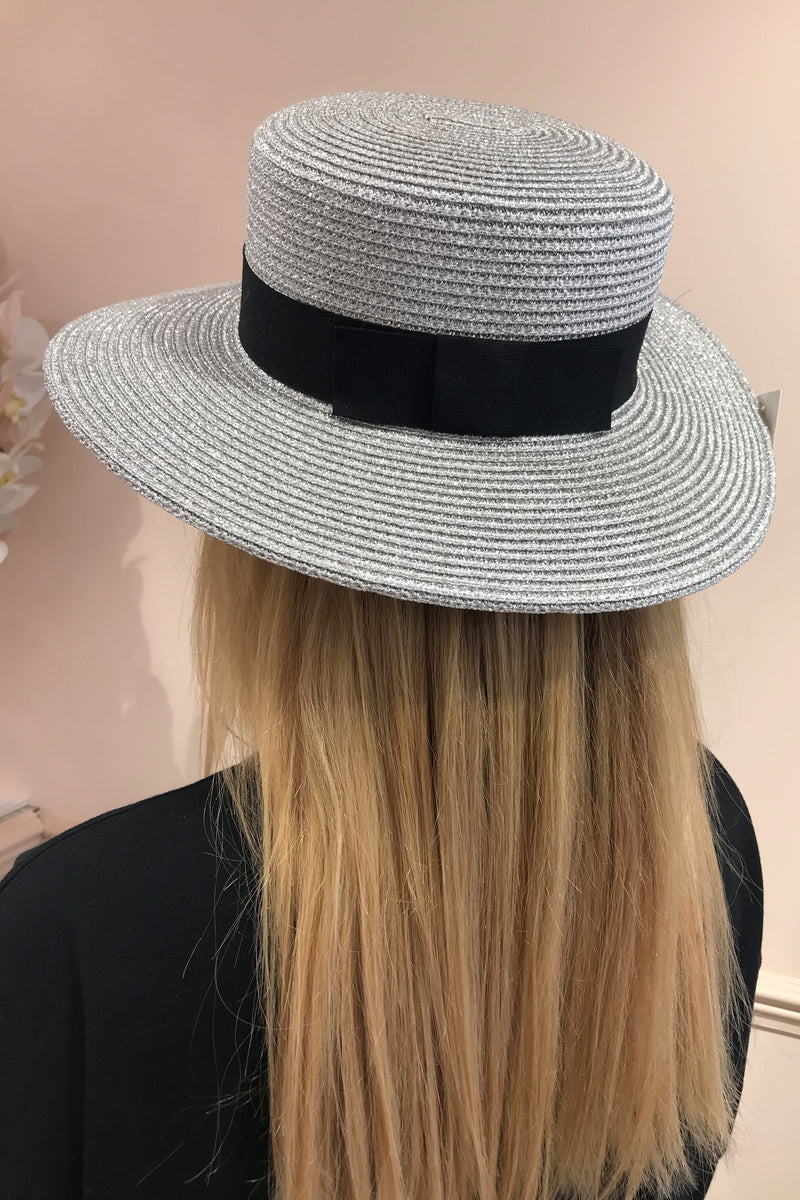 SILVER HAT WITH BLACK BOW RIBBON