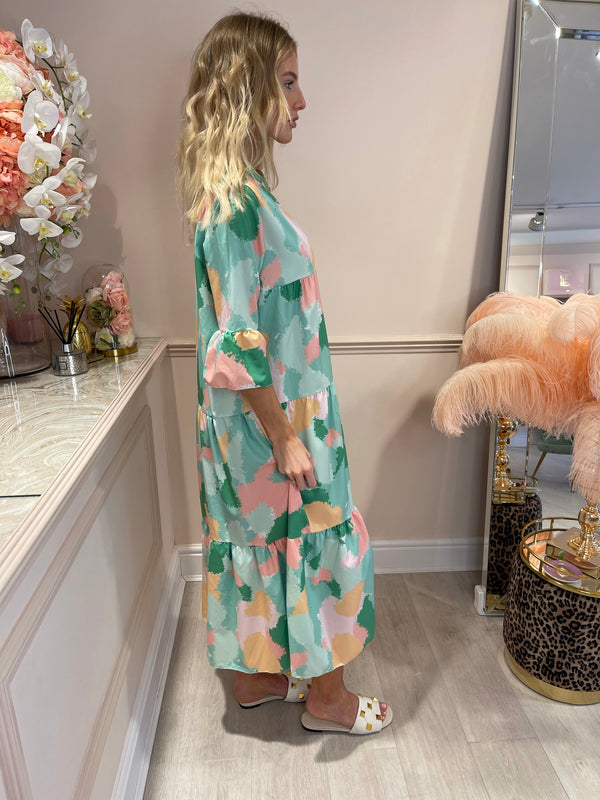 DAISY PINK GREEN SPLAT PRINTED MAXI DRESS