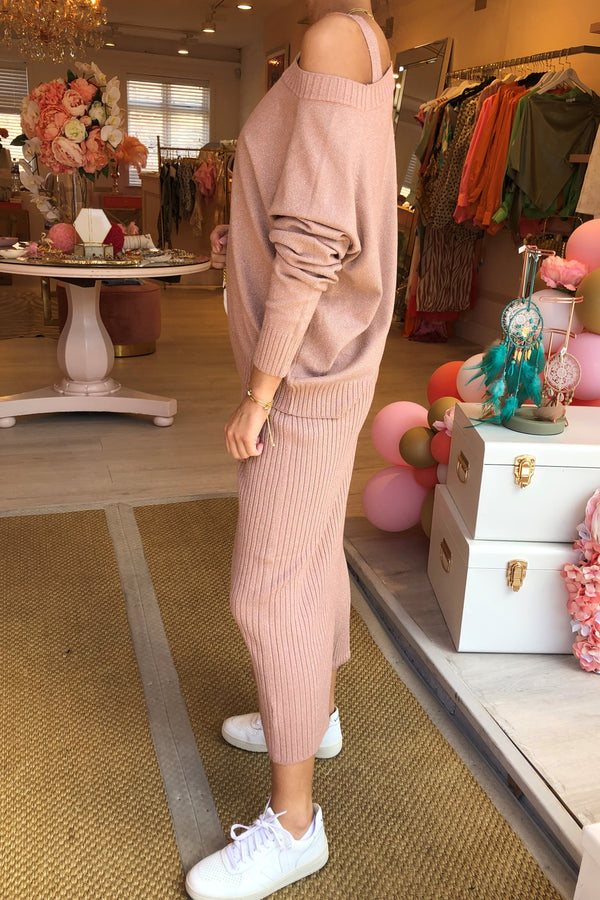 BLUSH KNITTED LUREX DRESS WITH MATCHING JUMPER SET