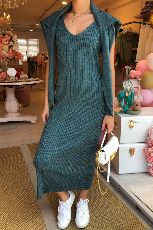 TEAL KNITTED LUREX DRESS WITH MATCHING JUMPER