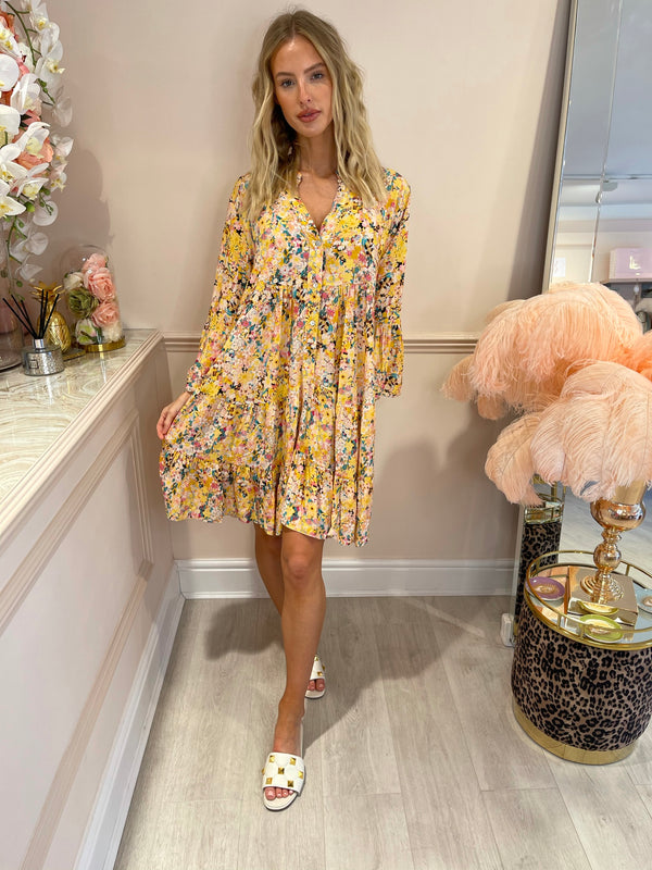 EMILIA YELLOW FLORAL PRINTED DRESS