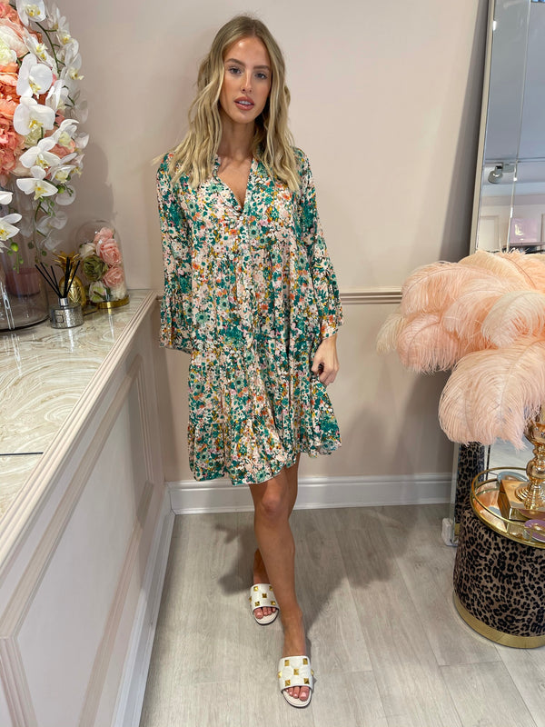 EMILIA GREEN FLORAL PRINTED DRESS
