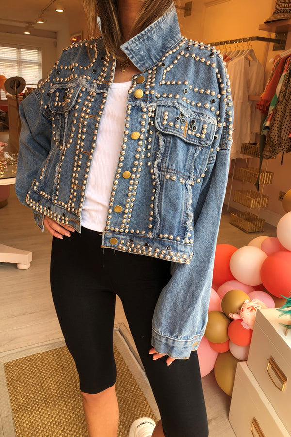 DENIM HEAVILY EMBELLISHED JACKET