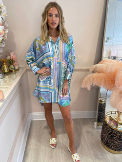 ELENA BLUE PINK CHAIN SHIRT DRESS