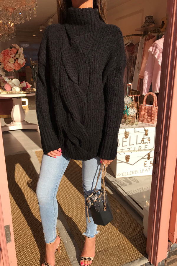 BLACK CABLE KNIT HIGH NECK JUMPER