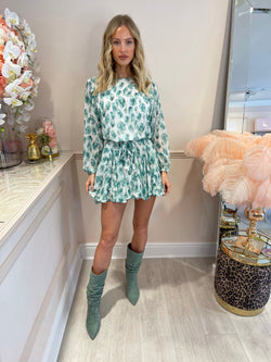 BELLA GREEN FLORAL BELTED DRESS
