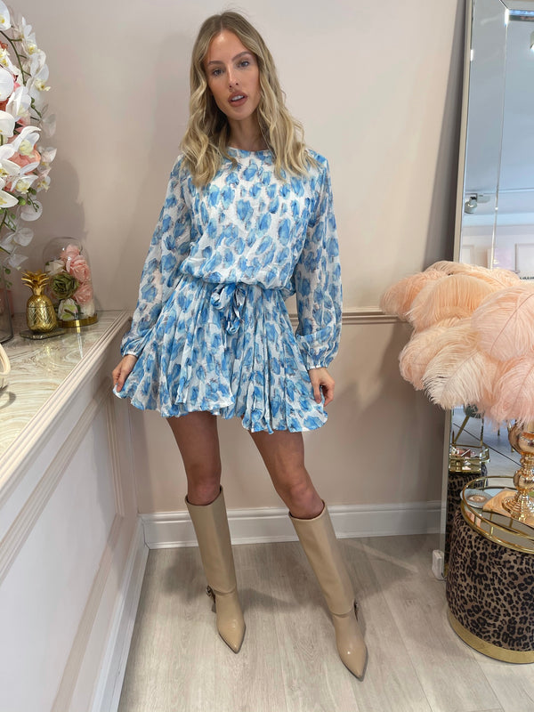 BELLA BLUE FLORAL BELTED DRESS