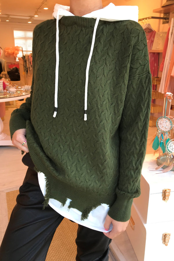 IVY KNITTED HOODIE GREEN