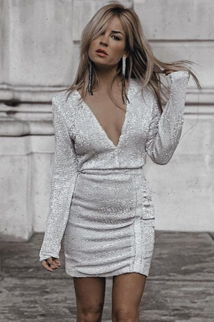 image 7 of DIVA SEQUIN RUCHED MINI DRESS SILVER