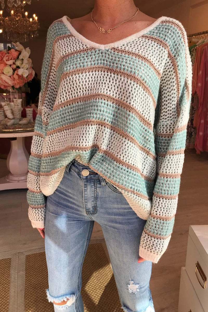 TURQUOISE/ROSE GOLD KNITTED JUMPER