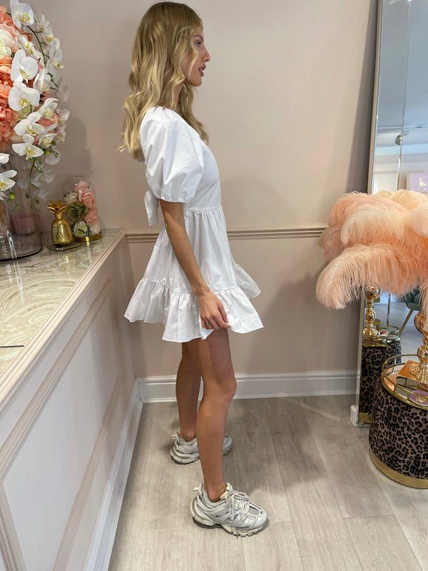 TORI WHITE SHORT SLEEVE DRESS