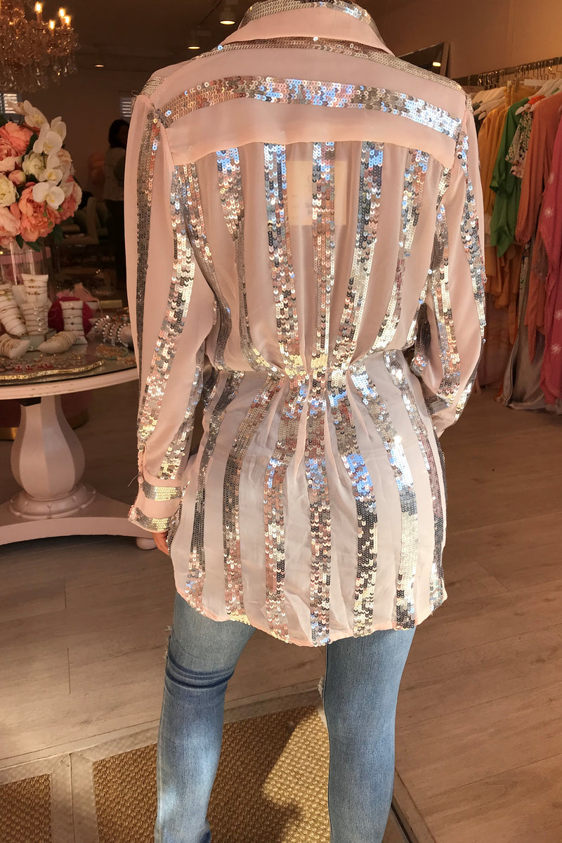LIGHT PINK/SILVER SEQUIN BLOUSE