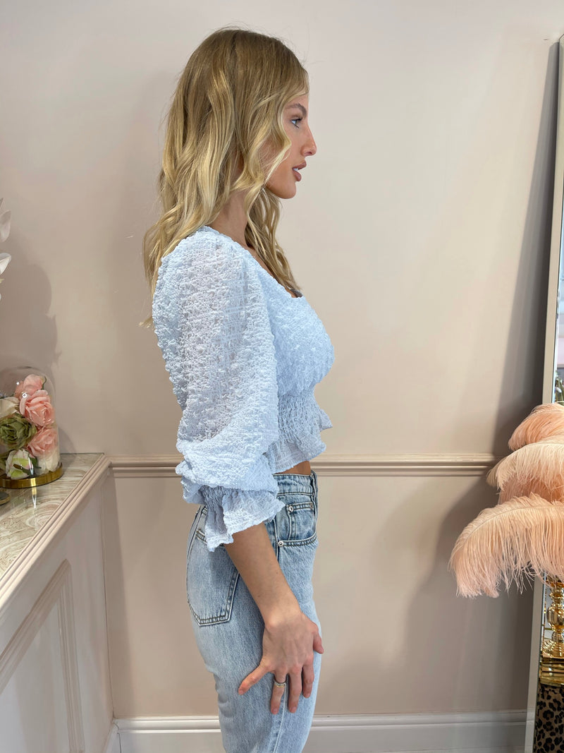 LILLY LIGHT BLUE TEXTURED TOP