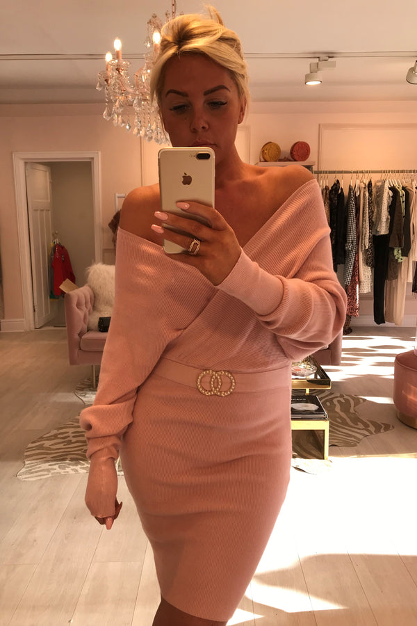 AMINA PINK KNITTED MIDI WITH PEARL BELT