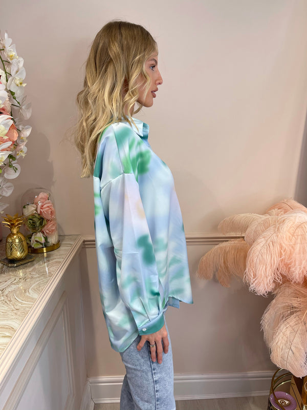 JADA GREEN TIE DYE LONG SLEEVE BLOUSE