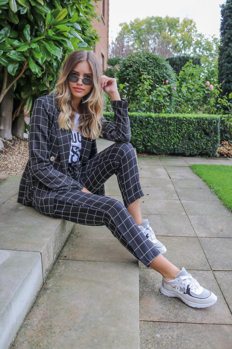 image 2 of BROOKE BLACK CHECK TROUSER