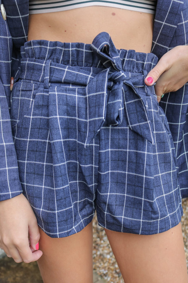image 1 of BROOKE NAVY CHECK SHORTS