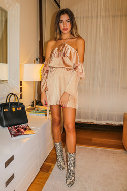 image 1 of ROMIE GOLD MINI DRESS