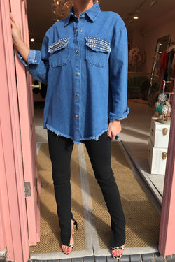 JADA BLUE DENIM SHIRT WITH EMB POCKETS
