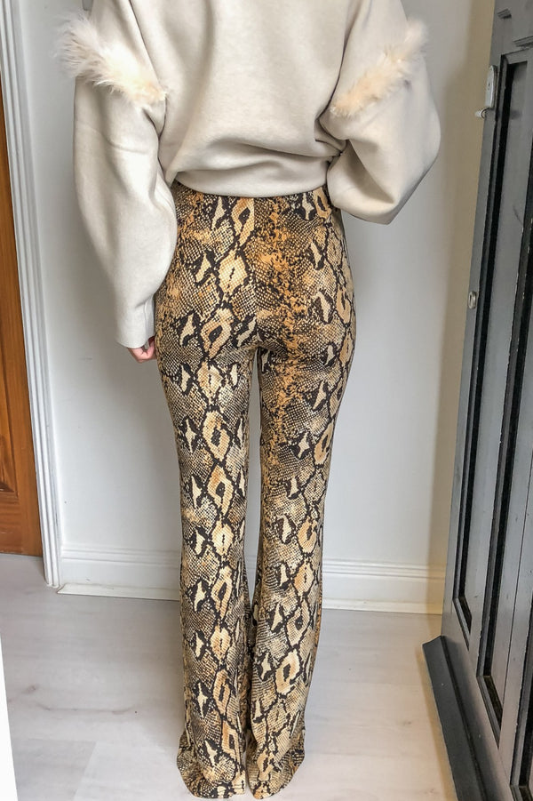 image 2 of SNAKE PRINT TROUSER WITH FRONT SPLIT
