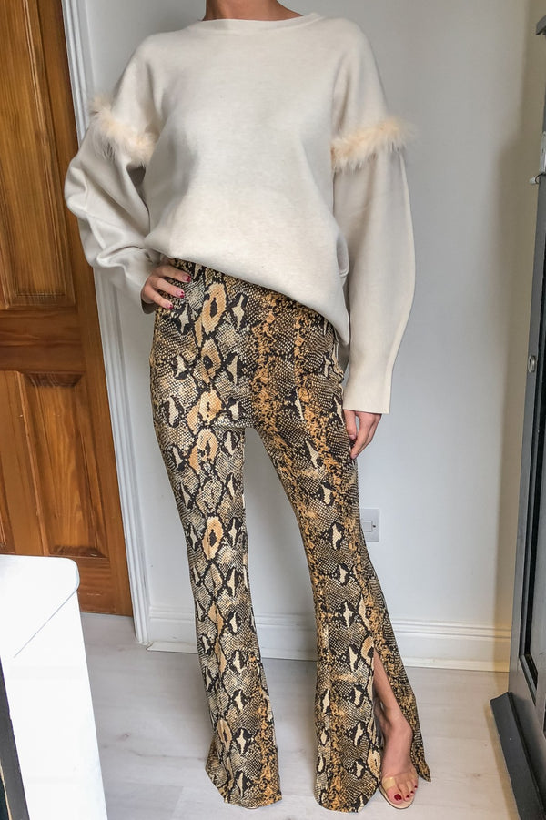 image 1 of SNAKE PRINT TROUSER WITH FRONT SPLIT