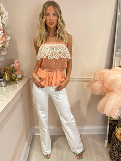 BLAIR PEACH BANDEAU TOP WITH CROCHET DETAIL