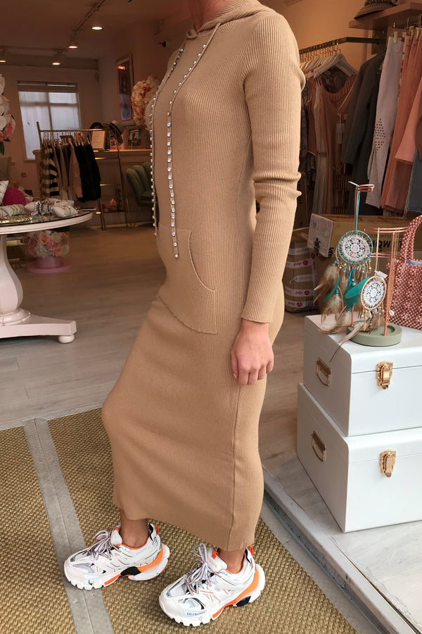 STELLA BEIGE HOODED MAXI DRESS