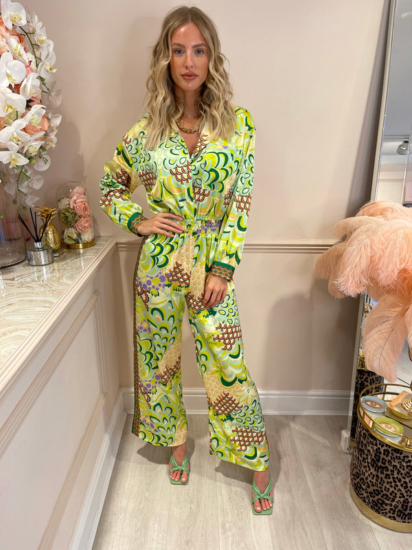 FELICITY GREEN YElLOW PRINTED JUMPSUIT