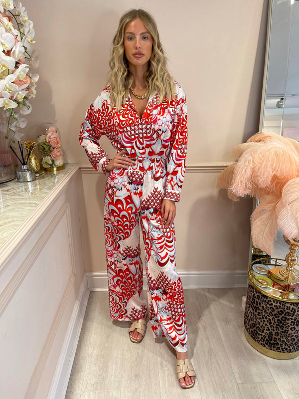 FELICITY RED WHITE PRINTED JUMPSUIT
