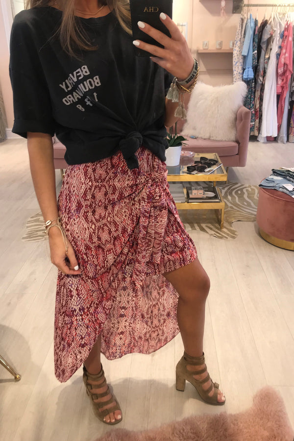 PINK SNAKE TIE FRONT SKIRT