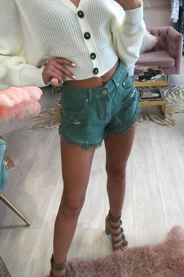 KHAKI RIPPED DENIM SHORTS